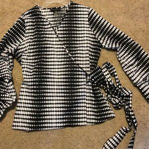 Ashley Stewart Black White Polka Dots Wrap Blouse